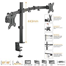 "Duramex (Tm) Economy Dual Monitor Arms Fully Adjustable Desk Mount / Articulating Stand For 2 LCD Screens up to 32"" Inch"