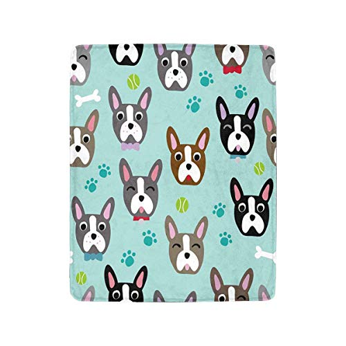 InterestPrint Cute Dog Face Cartoon Boston Terrier Fleece Blanket Super Soft Warm Lightweight Bed Blanket 40 x 50 Inches