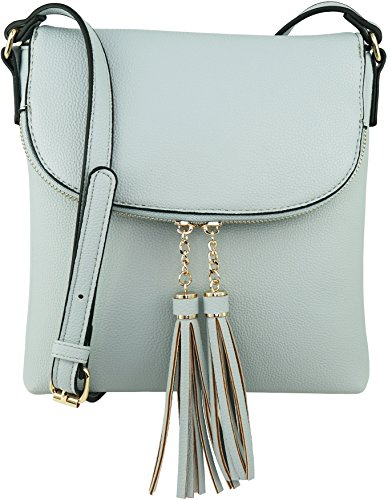 B BRENTANO Vegan Medium Flap-Over Crossbody Handbag with Tassel Accents (Opal Blue)