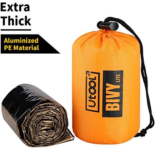 UTOOL Ultralight Emergency Sleeping Bag Waterproof Bivy Sack Bivvy Cover with Heat Retention for Camping, Hiking & Emergency Shelter - Emergency Bivvy Sack