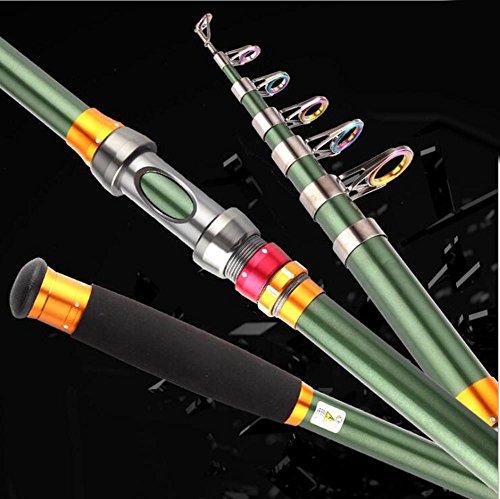 QQA 2.1m/2.4m/2.7m/3.0m/3.6m Portable Telescopic Carbon Fiber Fishing Rod Superhard Fishing Pole Tackle, 2.7 ()
