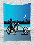 silky chopper - Motorcycle Decor Tapestry, Art With Chopper Motorcycle Biker Riding Under Starry Night Sky Cityscape Silhouette , Bedroom Living Room Dorm Decor, 40 W x 60 L Inches, Black Navy