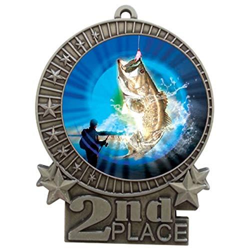 Express Medals 3インチ バス釣り 2位 メダル シルバー 赤 白 青 ネックリボン 賞 トロフィー XMDMY4 B07G7QVJLQ  25