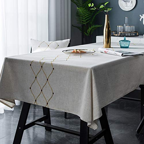 Bringsine Embroidery Geometric Diamond Tablecloth Heavy Weight Cotton Linen Fabric Dust-Proof Water-Proof Table Cover for Kitchen Dinning Tabletop Decoration (Rectangle/Oblong, 53 x 102 Inch, Linen)