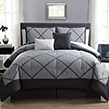 10 Piece Windowpane Plaid Pattern Comforter Set Queen Size, For Luxury Modern Bedrooms, Classic Madras Plaid Bedding, Tartan Patchwork Lumberjack Pattern, Vibrant Colors Charcoal Grey, Polyester
