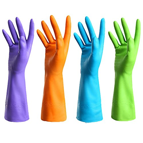 FIVOENDAR Set of 4 Pairs - Reusable Waterproof Household Antibacterial Gloves for Kitchen Dish Washing Laundry Cleaning, 4 Colors (Large)
