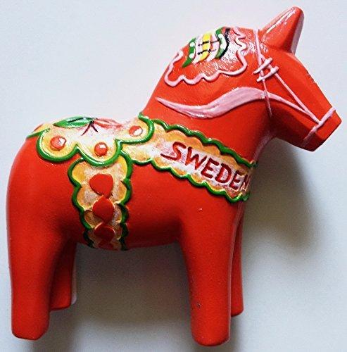 Red Swedish Dala Horse Sweden Resin 3D fridge Refrigerator Thai Magnet Hand Made Craft. by Thai MCnets