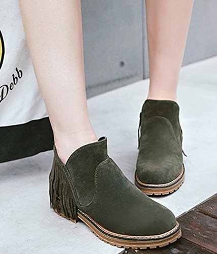 Tassels Casual Green Booties Toe Aisun With Round Women's Ankle 0461qgA