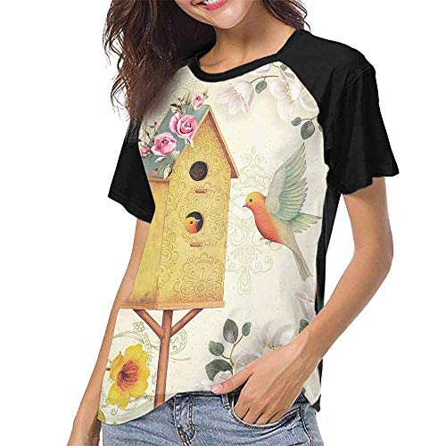 Egg Birdhouse - Graphic T-Shirt,Watercolor Pattern with Bird, Birdhouse, nest with Eggs and Greenery. S-XXL T Shirt Female Tight