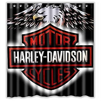 Custom Harley Davidson Logo Waterproof Bathroom Shower Curtain Polyester  Fabric Shower Curtain Size 66 X 72
