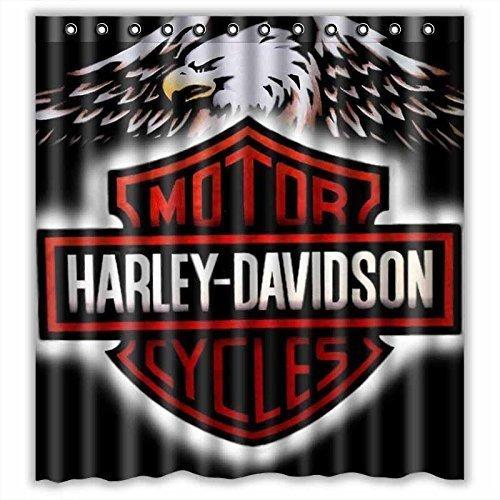 Custom Harley Davidson Logo Waterproof Bathroom Shower Curtain Polyester Fabric Shower Curtain