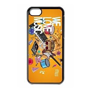 B6D41 amamos la música funda del funda iPhone M9N3JN 5c teléfono celular cubren XA3YWF2CG negro