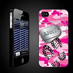 """Military iPhone Case Designs """"Pink Camo - Army Dog Tags/Boot Print"""
