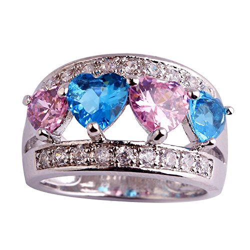 GemMart Jewelry New Love Style Pretty Women Ring Heart Cut Pink Blue Topaz Silver Ring Size 6 7 8 9 10 11