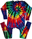 Tie Dyed Shop Men's Extreme Spiral Tie Dye Union Suit-Large-Multicolor