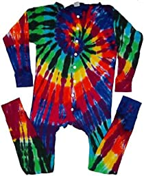 Tie Dyed Shop Men\'s Extreme Spiral Tie Dye Union Suit-Large-Multicolor