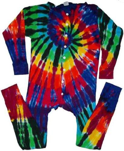 Tie Dyed Shop Men's Extreme Spiral Tie Dye Union Suit-Large-Multicolor by Tie Dyed Shop