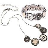 D EXCEED Handmade Etched Stretch Gold Enamel Flower Crystal Rhinestone Necklace Bracelet Set (Silver)