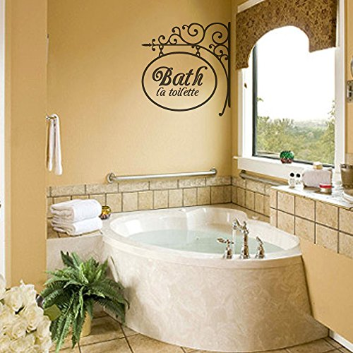 Bathroom Wall Decal with Wrought Iron Design - Bath Sign with La Toilette Saying in Vinyl Lettering for Mirror or Wall (Custom, Small) by MairGwall
