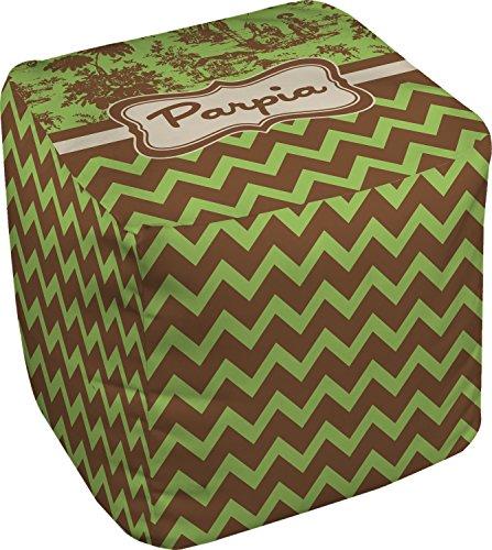 "Green & Brown Toile & Chevron Cube Pouf Ottoman - 18"" (Personalized)"