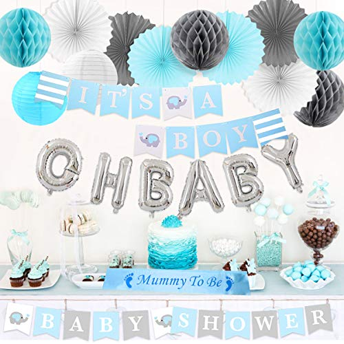 Baby Shower Party Decorations Elephant Theme for Boys, It's A Boy & Baby Shower Banner, Oh Baby Mylar Balloons, Mommy to Be Sash with Tissue Paper Decorations -