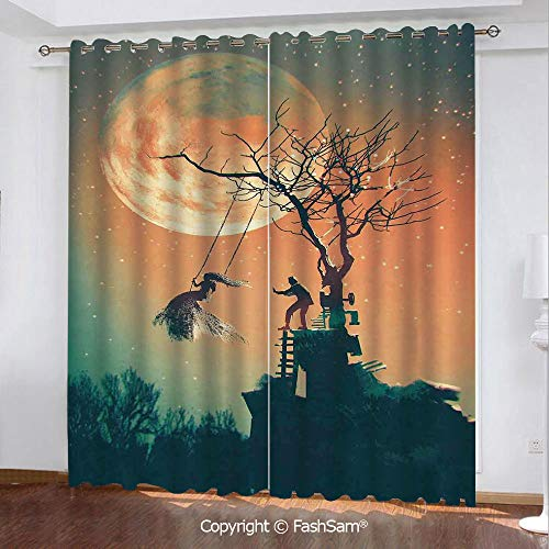 FashSam Blackout Curtains Set Room Darkening Drapes Spooky Night Zombie Bride and Groom Lady on Swing Under Starry Sky Full Moon Window Treatment Pair for Bedroom(84