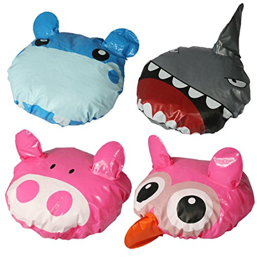 Price comparison product image kilofly Kids Fun Shower Bath Caps Value Pack [Set of 4] Owl, Hippo, Pig, Shark