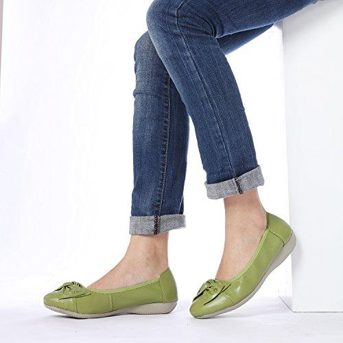 Odema Kvinners Skinn Slip Ons Loafers Flats Mokasiner Kjører Sko Lave Herresko 11colors Størrelse 6,5-9,5 Eple Grønne