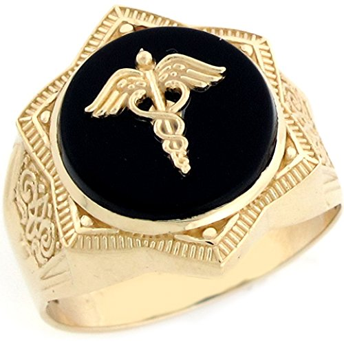 10k Real Gold Star of David Caduceus Doctor Staff Onyx Mens Ring
