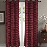 Pair of Two Top Grommet Blackout Jacquard Curtain Panels, Triple-Pass Foam Back Layer, Elegant and Contemporary Willow Blackout Panels, Burgundy, Set of Two 42″ by 108″ Panels (84″ by 108″ Pair) For Sale