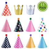 NUOLUX Party Cone Hat with Pom Pom for Kids Adults Fun Birthday Party Decorations,9 Paper Hat + 2 Crown