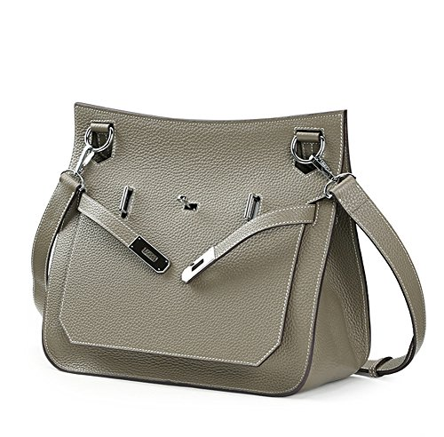 Ainifeel Women's Padlock Genuine Leather Messenger Bag Cross Body Bag Satchel Purse (taupe)