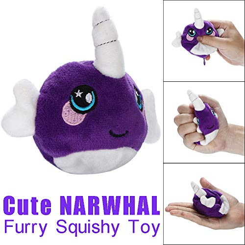 Euone Toys Clearance ‼ , 9cm Furry Squishies Cute Narwhal Foamed Stuffed Slow Rising Squeeze Toy