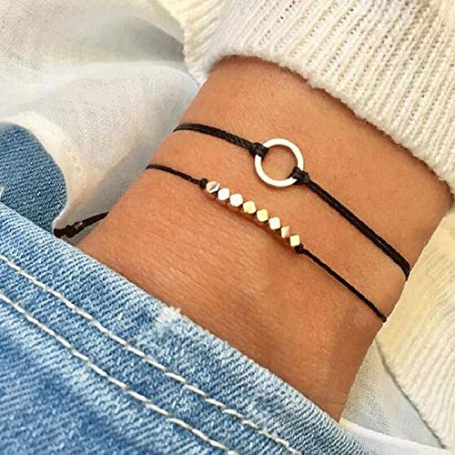 - LTH12 Charm Bracelets - Vintage Metal Round Beaded Bracelets Bangles for Women 2018 Boho Handmade Rope Leather Bracelet Sets Party Jewelry Gifts 1 PCs