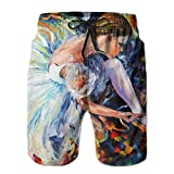 Ableelba Men Ballet Dancer colorful Art Fashion Beach Pant Tide Stamp Shorts