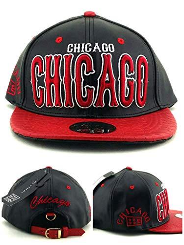- E-Flag New Leader Chicago Stacked Leather Blackhawks Colors Black Red Era Strapback Hat Cap
