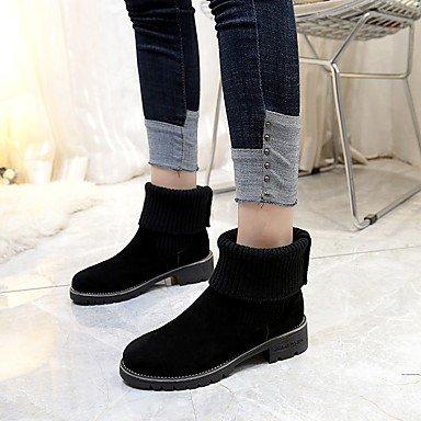 Fashion Mujer Primavera Nubuck Zapatos Botas Dividida RTRY Tejer Conjuntos De Cuero UK5 Puntera Por Chunky EU38 Otoño Redonda 5 CN38 Talón Comodidad De US7 Botines Botines 5 Botas 0qYwwvE
