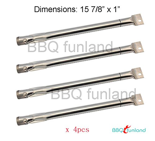 S4051 (4-pack) Stainless Steel Burner Replacement for BBQ Gas Grill Charmglow, Brinkman, Uniflame, Charmglo and Charmglow Model 810,Brinkmann Proseries 7231 Brinkman Model # 810- 8410-S - Stainless Steel Pipe Burner