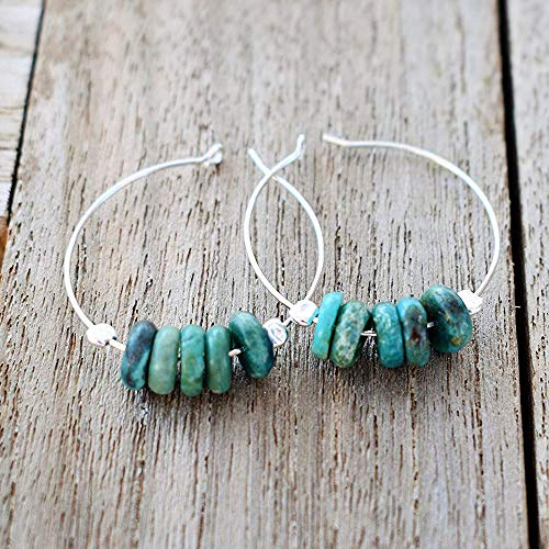 Sterling Silver Turquoise Gemstone Hoop Earrings Jewelry Gift for Women