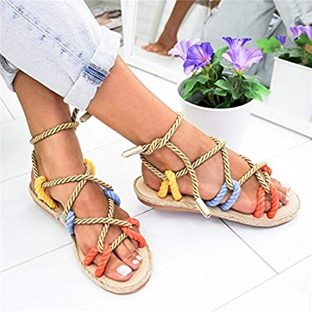 Reuvv Roma Stagger Sandalias de Cuerda de c/á/ñamo para Mujer Zapatos de Playa para Verano 36 marr/ón
