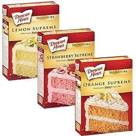 Duncan Hines Signature Cake Mix Bundle – Strawberry Supreme, Orange Supreme, Lemon Supreme 16.5oz (Pack of 3 Boxes) by Duncan Hines Signature