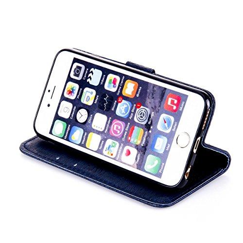 Funda iPhone 6s, Funda de brillo iPhone 6, Lifetrut Sólido Shiny Sparkle Libro de Estilo de Cuero con Ranura para Tarjetas de Cierre Magnético Soporte Funda de Teléfono de la Función con Correa de Muñ E204-Armada