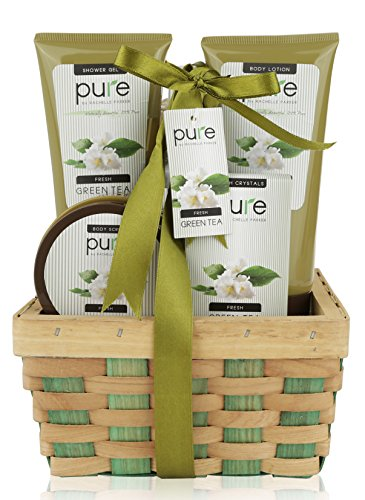 Pure! Herbal Collection Spa Basket - #1 Birthday Gift Basket for Women! Keeps Giving! Touchable Skin, Cleansed & Hydrated with Green Tea Spa Gift Basket. Best Bubble Bath Gift Basket!