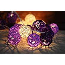 Battery Powered 2M 20 LED Rattan Ball String Lights, Christmas, Partys, Wedding & Outdoor String Lights (Purple Mix)