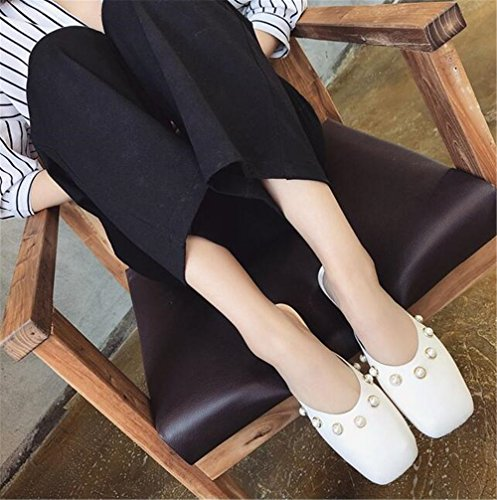 Retro White Closed Women's Square 2 Fashion Flat Slippers Sandals excellent c Head Loafers Toe 7UYEEq