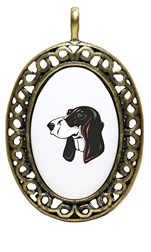 Price comparison product image Berner Laufhund Head Porcelain Pendant Antique Style Frame
