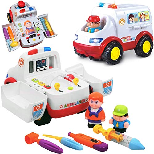 Liberty Imports 2-in-1 Ambulance Doctor Rescue Vehicle Set with Operation, Medical Tools, - Toys Ray Discovery X Kids