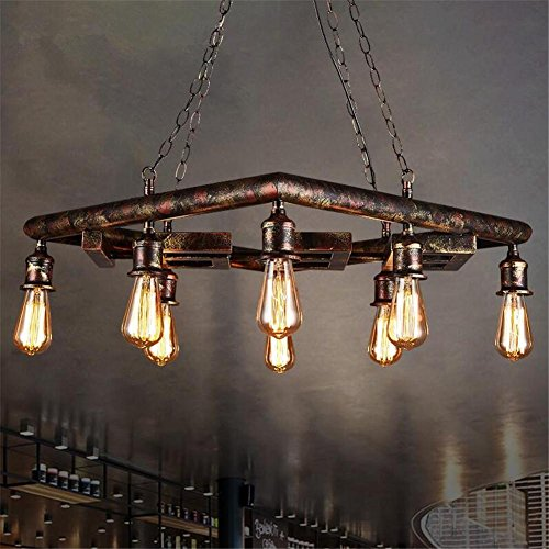 DHXY Retro Chandelier Water Pipes Rusty Color 8 Lights LOFT Industrial Vintage Square Shape Wrought Iron Pendant Ceiling Light For Kitchen, Bar, Cafe, Restaurant