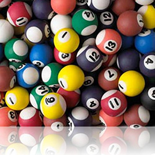 Custom & Unique {27mm} 16 Lot Pack, Mid-Size Super High Bouncy Balls, Made of Grade A+ Rebound Rubber w/ Vintage Hipster Bar Club Pool Hall Table Billiards Sport's Game Numbered Ball Style (Multicolor