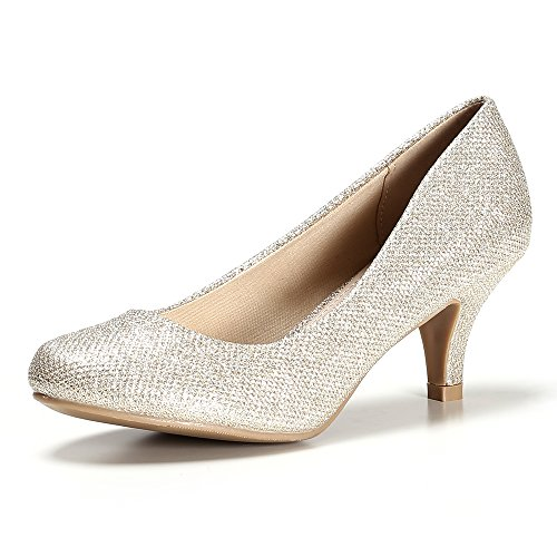 Bridal Glitter Work STELLE wear for Heel Classic Wedding Low Casual Pump Women's Party Gold Day Shoes Fxw8ZfqO4w